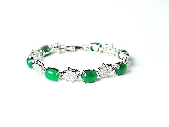 QB55 Goodluck Strength Green Jade & Crystals Quantum Bracelet Oval