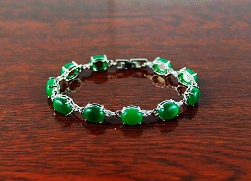 QB57 Goodluck Strength Green Jade Quantum Bracelet Oval Crystal