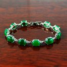 QB57 Goodluck Strength Green Jade Quantum Bracelet Oval Crystal