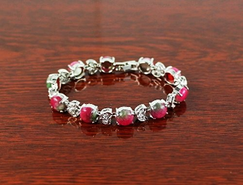 QB60 Stone of Love & Romance Rose Jade Quantum Bracelet w/ Crystal Leaves