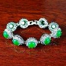 QB63 Goodluck and Strength Green Jade Quantum Bracelet w/ Crystals