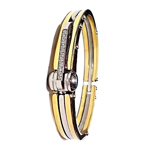 QB48 Tejo 50 Shades of Grey Inspired Handcuff Crystals Energy Bracelet Gold