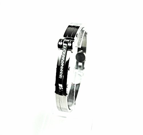 QB47 Tejo 50 Shades of Grey Inspired Handcuff Crystals Men Energy Bracelet Plain
