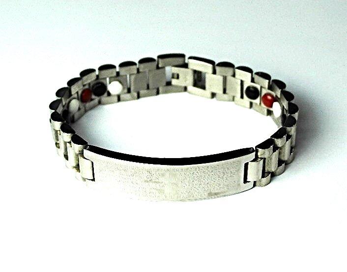 QB18 Dalimara Magnetic Stainless Men's Padre Nuestro Quantum Bracelet Polished
