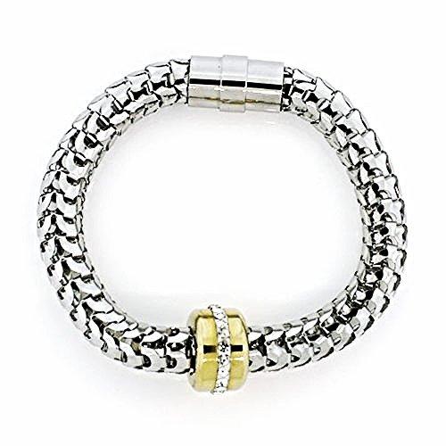 WQB7 Dalimara Women's Snake Mesh Stainless Steel w/ Crystals Magnetic Bracelet