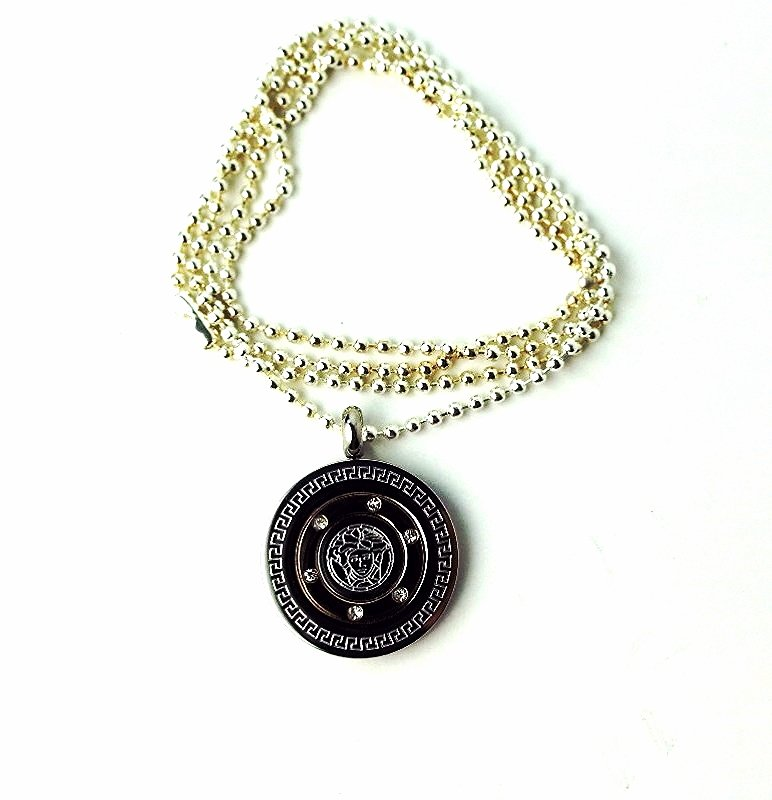 QP38 Dalimara Medusa Head Stainless Steel Greek Key Energy Necklace