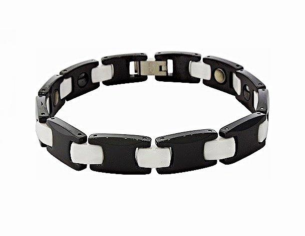 QB8 Dalimara White Ceramic & Black Tungsten Carbide Energy Bracelet