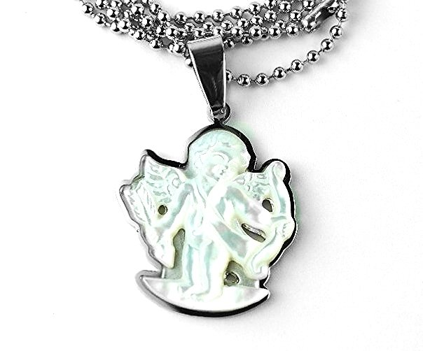 QR11 Amores Cupid Angel Mother of Pearl Energy Pendant