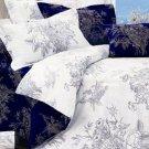 4-pc Beautiful Purplish Blue Cotton Floral Reactive Print Duvet Cover