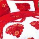 4-pc Comfortable Red Floral Cotton Duvet Cover