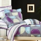 4-pc Beige And Gray Cotton Duvet Cover