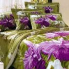 4-pc Comfortable Army Green Floral Cotton Duvet Cover