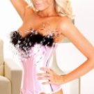 Pink Imitated Silk Fabric Strapless Sexy Corset And Panty Set