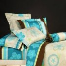 4-pc Blue Stipe Cotton Duvet Cover Bed Linen