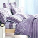 4-pc Beautiful Light Purple Cotton Floral Reactive Print Duvet Cover Bedding Set