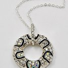Silver Tone / Clear Rhinestones / Lead Compliant / Pendant Necklace