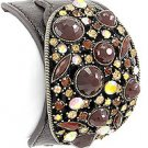 Burnished Gold Tone / Brown Leather / Topaz Acrylics & Rhinestones / Lead Compliant / Buckle