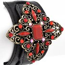Antique Gold Tone / Red Rhinestone / Black Leather / Lead Compliant