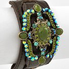 Antique Gold Tone / Green Rhinestone / Brown Leather / Lead Compliant