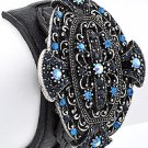 Burnished Silver Tone / Blue Rhinestones / Black Leather / Lead Compliant / Buckle