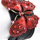 Burnished Gold Tone / Red Epoxy / Black Leather / Lead Compliant / Buckle / Butterfly