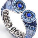 Silver Tone / Blue Epoxy / Sapphire Rhinestones / Lead & Nickel Compliant / Fold-over Bracelet