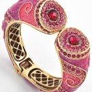 Gold Tone / Pink Epoxy / Rose Rhinestones / Lead & Nickel Compliant / Fold-over Bracelet