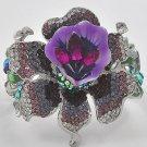 Rhodiumized / Purple Acrylic / Amethyst Rhinestones / Lead&nickel Compliant / Flower Theme