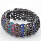 Hematite Tone / Multi Color Rhinestone / Lead&nickel Compliant / Fold-over Bracelet