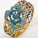 Goldtone / Blue Rhinestone / Lead&nickel Compliant / Flower Theme / Fold-over Bracelet