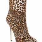 Gorgeous 4 7/10'' High Heel Leopard Sheep Skin Bootie