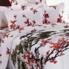 Quality White 4-pc Chinese Flower Painting Cotton Floral Bedding Set