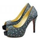 Black Satin Glitter Peep-toe