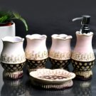 Classic Pink And Black Resin Environment Friendly Bathroom Sets
