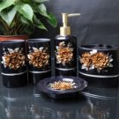 Luxurious Golden Camellia Environment Friendly Resin Bathroom Sets