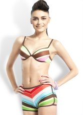 Lovely Rainbow Polyester Nylon Two-Piece Womens Swimsuit