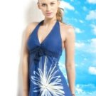 Navy Blue One-Piece Polyester Nylon Womens Swimsuit