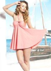Modern Attractive One-Piece Pink Halter Polyester Chinlon Womens Swimsuit