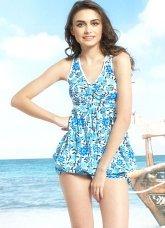 Modern Fashion Blue Polyester Chinlon Womens Swimsuit