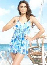 Beautiful Blue Polyester Nylon Spaghetti One-Piece Swim Dress