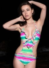 Great Colorful One-Piece Ruffles 82% Nylon 18% Spandex Womens Swimsuit
