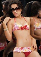 Charming Colorful 82% Nylon 18% Spandex Floral Two-Piece Ladies Bikini Swimsuit