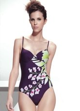 Best Deep Purple 82% Nylon 18% Spandex Floral One-Piece Ladies Swimsuit
