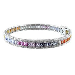 9.5ct Multi Colored Rainbow Sapphire & Diamond Bracelet 14kt WG