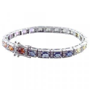 11ct Multi Color Rainbow Sapphire & Diamond Bracelet 14kt WG