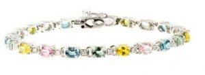 9.6ct Multi Color Sapphire & Diamond Bracelet