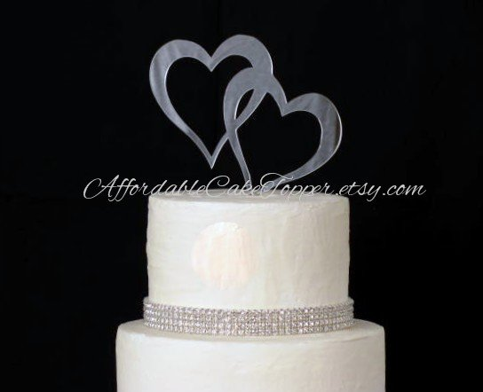 Double Heart Wedding Cake Topper Bride and Groom
