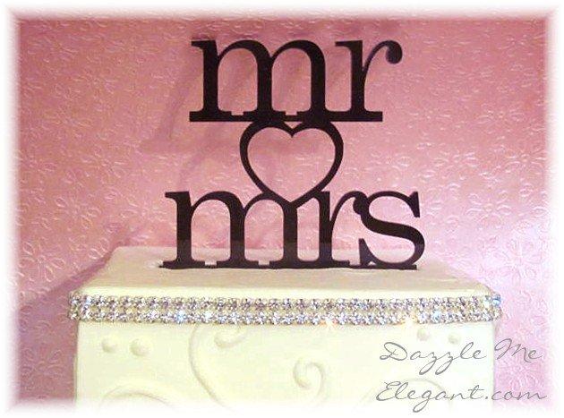 Mr & Mrs Heart Wedding Cake Topper