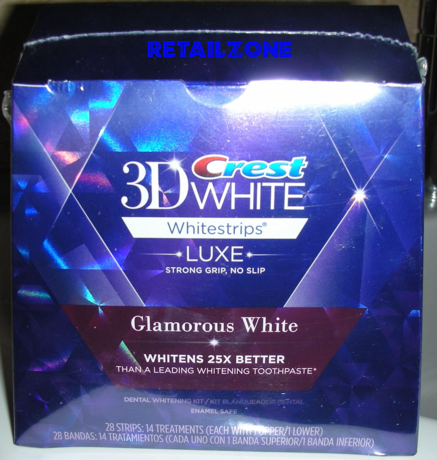 NEW BOX 28 STRIPS CREST 3D WHITE LUXE GLAMOROUS WHITE WHITESTRIPS DATE NOVEMBER 2015
