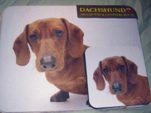 Dachshund red  Dog Mousepad & 2 coaster set Littlegifts pet mouse pad